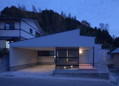 小森橋の家 (外観(夕景))