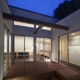 小森橋の家 (中庭(夕景))