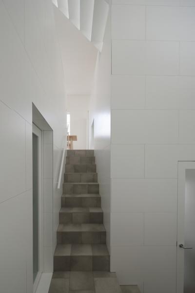 曙橋の家 / 都心の小さな家 (階段 / ダイニングを見る)