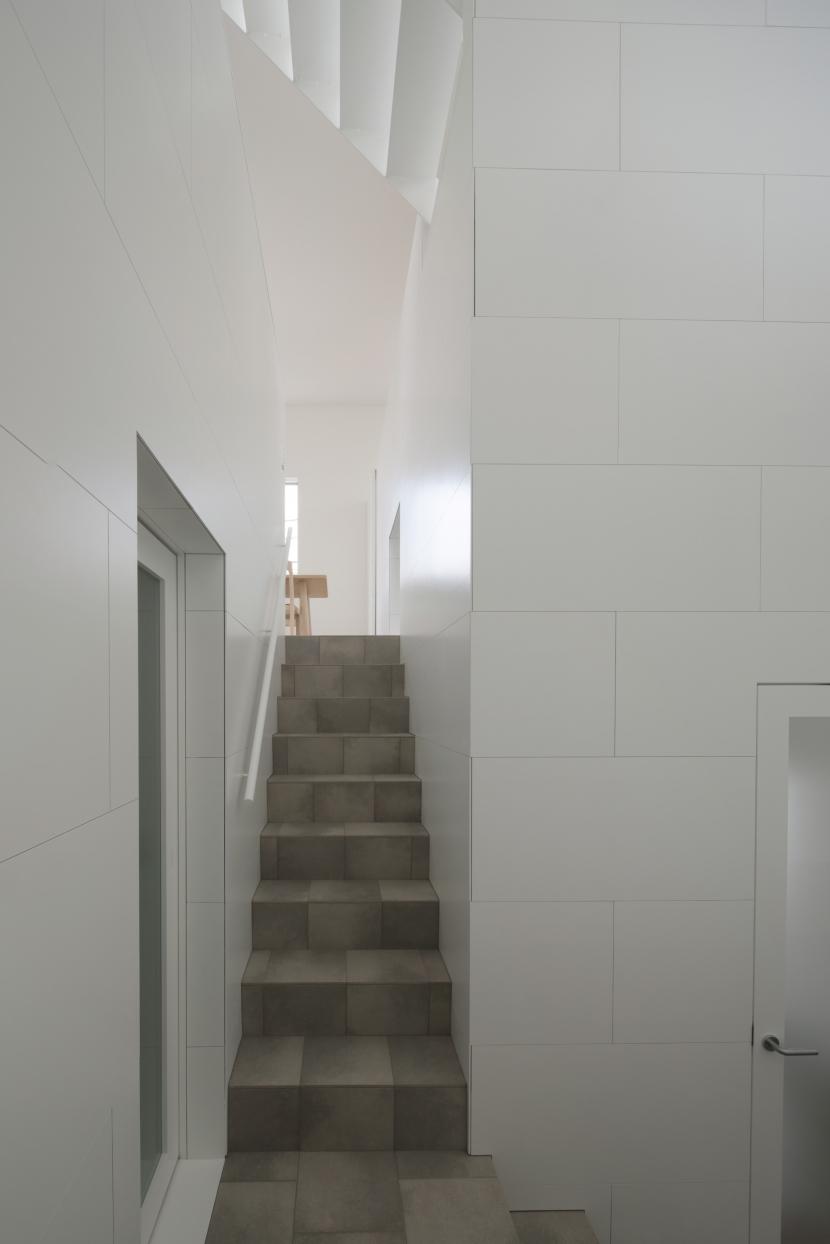曙橋の家 / 都心の小さな家の写真 階段 / ダイニングを見る