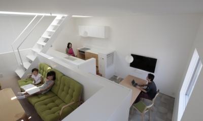 曙橋の家 / 都心の小さな家 (リビング / リビングからLDKを俯瞰する)
