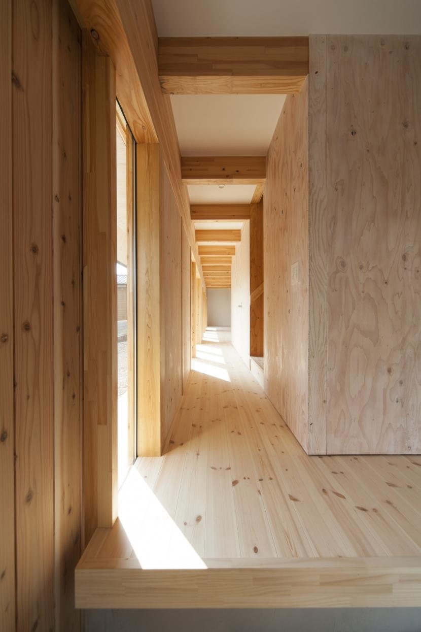 武蔵増戸の家 / 郊外の庭家の部屋 廊下 / 明るい縁側1