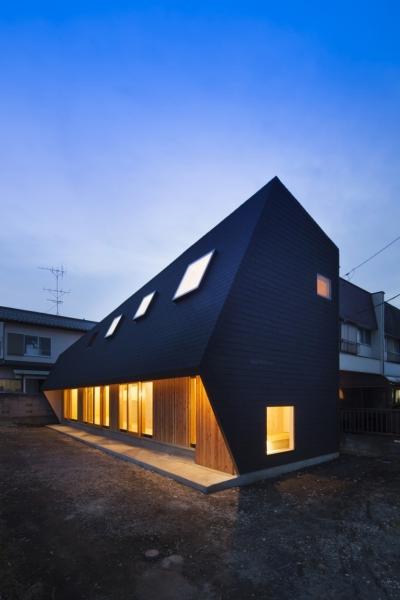 武蔵増戸の家 / 郊外の庭家 (外観 / 北東面の夕景)