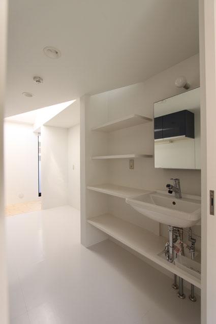 ネコと犬と暮らす家・二世帯住宅OUCHI-14 (キッチン背面の洗面スペース)