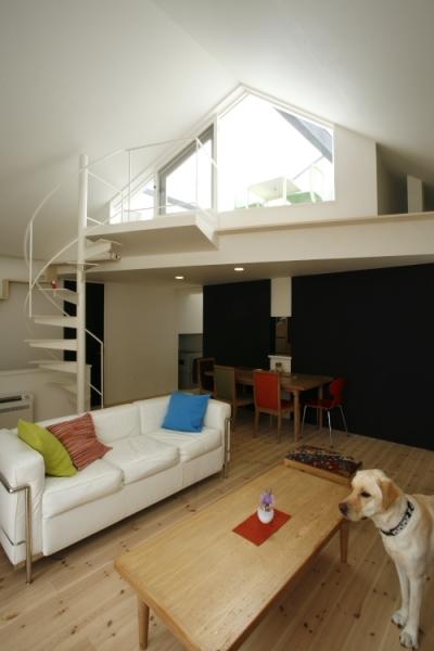 らせん階段のあるリビング (ネコと犬と暮らす家・二世帯住宅OUCHI-14)