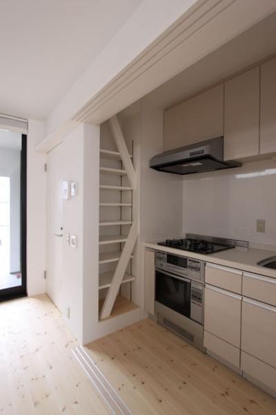 親世帯キッチン・小収納棚 (ネコと犬と暮らす家・オウチ14)