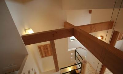 景色をとり込むウッドデッキのある家 (2階天井)