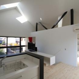 オウチ18・仙台 SOHOの家の写真 勾配屋根のリビング