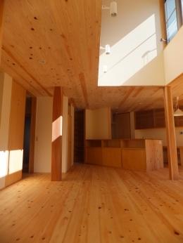 台形の変形敷地に建つ30坪の家 (家族の間2)