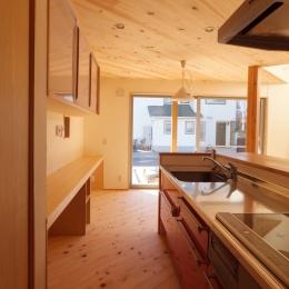 変形敷地に建つ陽がサンサン降りそそぐ家 埼玉県飯能市・O邸 (キッチン)