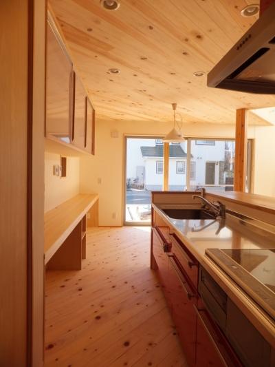 キッチン (変形敷地に建つ陽がサンサン降りそそぐ家 埼玉県飯能市・O邸)