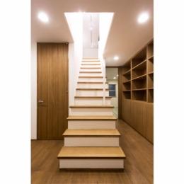 オーク材を贅沢に使い 落ち着いた空間に 三鷹市牟礼6丁目 (室内階段(下部))