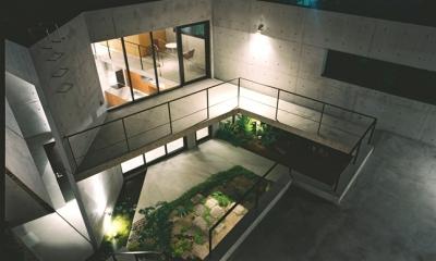 対の家 (中庭俯瞰夕景)