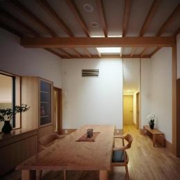 平屋 和風モダンの家  築60年の一部を残した住宅の建て替え (リビング/トップライト 奥は寝室)