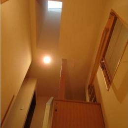 犬と共に暮らす家  室内に光を届けるリノベーション (階段/回転窓と天窓)