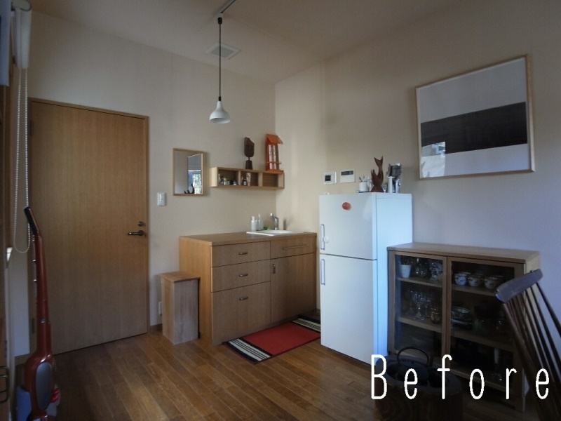 ローコストリノベーション  無機質空間から木質空間への部屋 Before 作業台をキッチンに変更