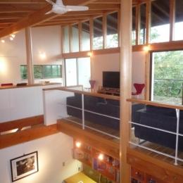 大自然の中で時間の流れを楽しむ家|那須の週末住宅 (2階リビングから1階土間を見る)