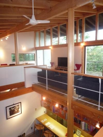 大自然の中で時間の流れを楽しむ家 那須の週末住宅 (2階リビングから1階土間を見る)