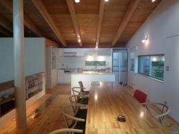栃木県那須町・薪ストーブと土間の家|那須の週末住宅 (キッチン・ダイニング)
