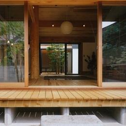 風の家 (リビングを通して眺める中庭)