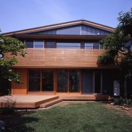 庭に開いた吹き抜けの家