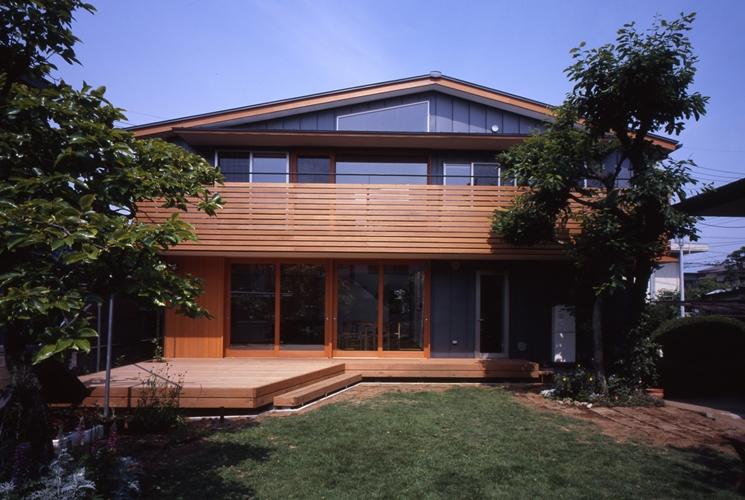 庭に開いた吹き抜けの家の写真 外観