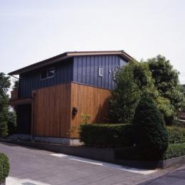庭に開いた吹き抜けの家 (外観)
