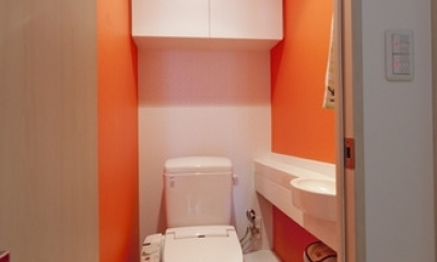 柔らかな印象の無垢材を多用し、明るく、風通しよく、楽しい空間にリノベーション (トイレ)