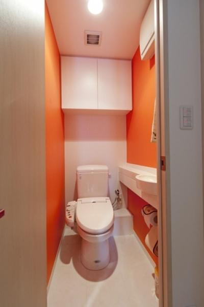 トイレ (柔らかな印象の無垢材を多用し、明るく、風通しよく、楽しい空間にリノベーション)