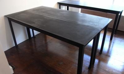 モルタルのテーブルとアクリルの収納~羊羹と寒天