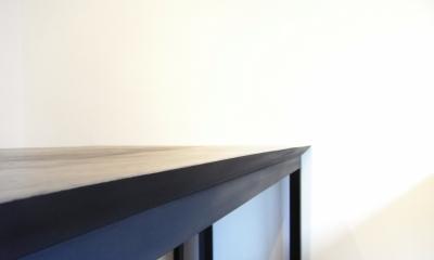 モルタルのテーブルとアクリルの収納~羊羹と寒天 (モルタルのテーブル3)