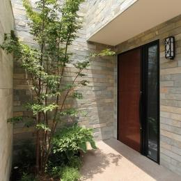 石と塗り壁の家 (緑の映える玄関正面)