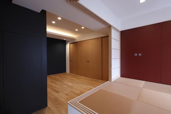 MBU 新しい田の字プランの写真 和室から見るシアタールーム
