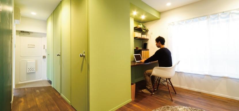 リノベーション・リフォーム会社:インテリックス空間設計「グリーンカラーがお気に入り。団地タイプ間取りを広々とした空間へ」