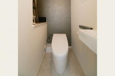 ライトグレーなトイレ (フォトスタジオもプライベートギャラリーも。アートを楽しむ住まい。)