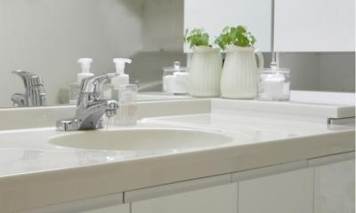 白を基調としたカフェキッチン (清潔感漂う洗面所)