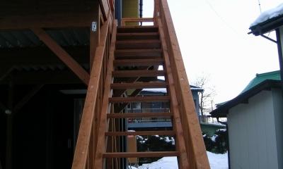 2階リビングの家 (外部階段)