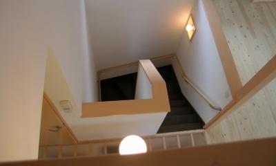 2階リビングの家 (階段)