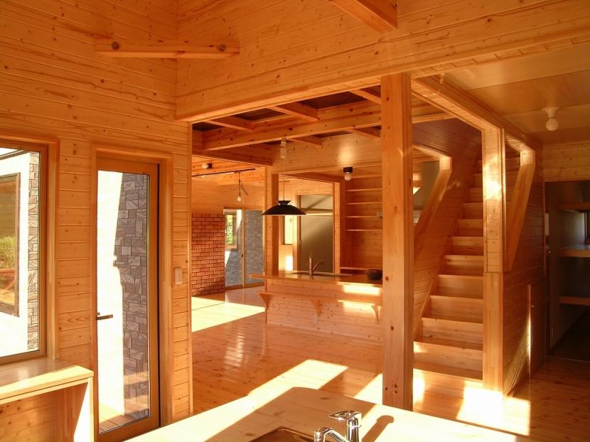 傾斜のある草原に建つ家の部屋 ダイニング・キッチン 2