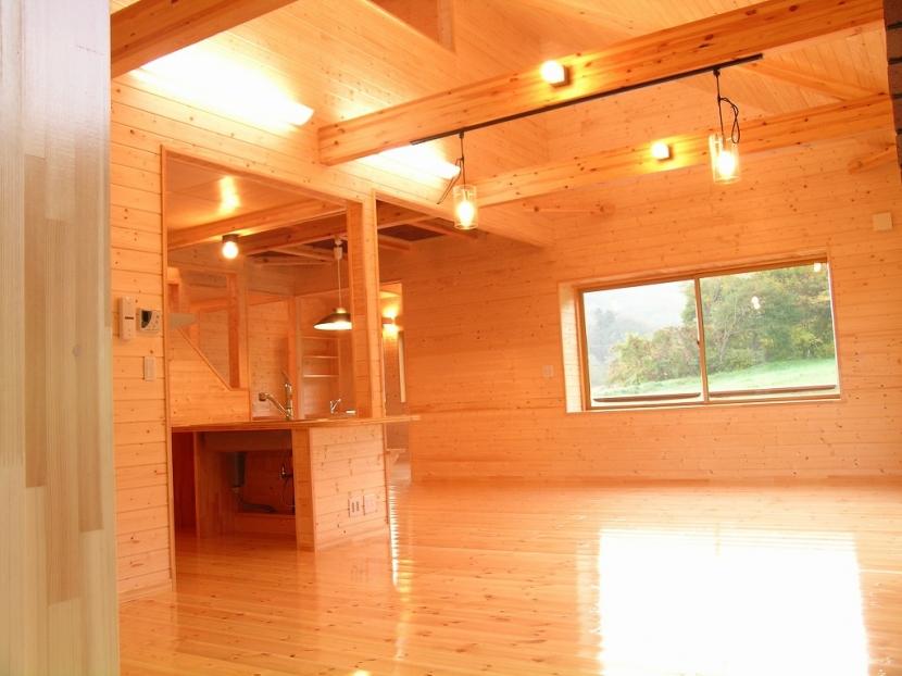 傾斜のある草原に建つ家の部屋 リビング 2