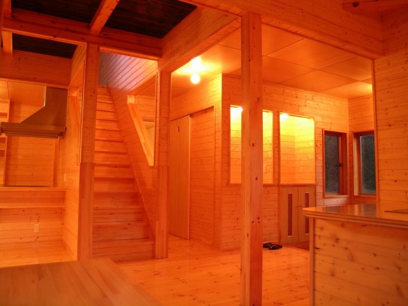傾斜のある草原に建つ家の部屋 リビング 3