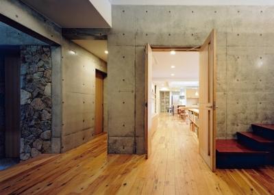 混構造の家 (玄関ホール2)