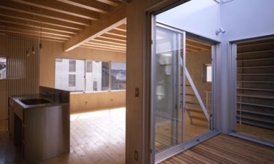 西荻の家 (リビングに面した中庭(撮影:淺川敏))