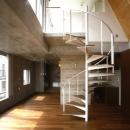 代々木西原の家の写真 2階から3階への螺旋階段(撮影:淺川敏)