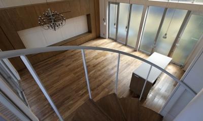 五反野の家 (階段から見下ろすリビング(撮影:淺川敏))