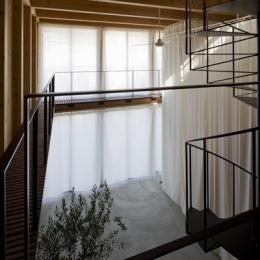 和賀材木座の家 — 空(くう)の箱 — (上から見下ろすエントランスホール(撮影:淺川敏))