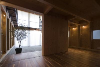 1階から眺めるエントランスホール(撮影:淺川敏) (和賀材木座の家 — 空(くう)の箱 —)