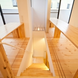 『岩槻の家』可変間取りの子世帯とペットと暮らす親世帯の二世帯住宅 (階段(撮影:永石写真事務所))