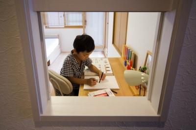 廊下2 (廊下を通れば見えてしまう!勉強頑張ってるかな?)