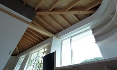 天井-傘状垂木(撮影:鳥村鋼一)|陽傘の家